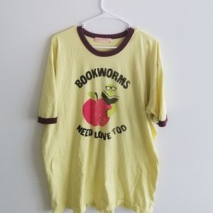 Urban Outfitters Yellow 2XL Bookworm Tee Shirt